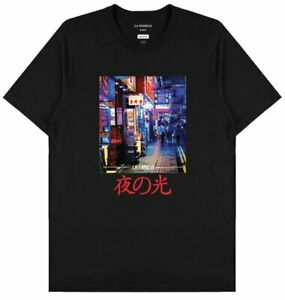 LA FAMILIA WORLDWIDE RUN THE LIGHTS T-SHIRT JAPANESE TOKYO TEE MENS BLACK