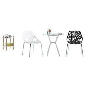 Set of 4 Black/White Mid Century Dining Office Living Room/Kitchen Side Chairs