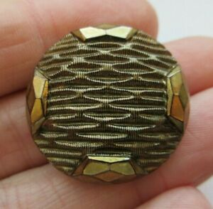 Dazzling Antique~ Vtg Victorian Black GLASS BUTTON Gold Luster 1- 18