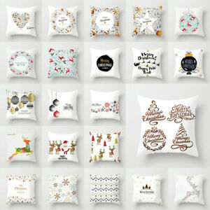 Sofa Pillow Home Case Cover Decor Polyester Christmas Merry 18#x27;#x27; Throw Cushion $2.55