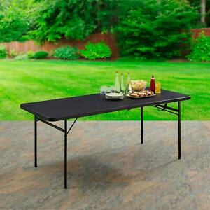 Black Folding Table 6ft Fold-In-Half Portable Plastic Picnic Camping Barbecue