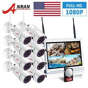 ANRAN 1080P HD 8PCS Security Camera System Outdoor Wireless 8CH 12
