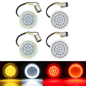 4x LED Bullet Style Turn Signals Light Inserts Fit For Harley Dyna Street Glide
