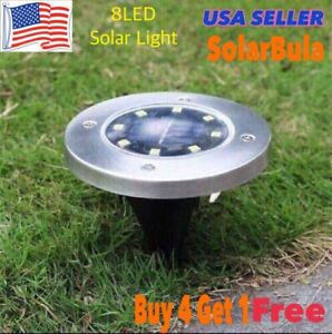 2 PCS Solar 8 LED On Lights  Outdoor In-Ground Light Landscape Stainless Steel