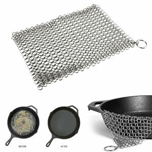 Stainless Steel Cast Iron Cleaner Chain mail Scrubber Home Cookware Kitchen Tool