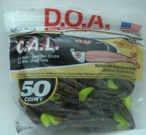 DOA 10-351 Cal Shad Lure 50CT Color 351 Root Beer Chartreuse Tail 21370