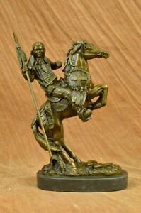 Native American Statue Indian Chief Horse Warrior Bronze Marble Base Sculpture