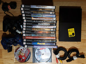 PlayStation 2 Slim SCPH-90001 w/ 17 Games - 2 Controllers - Memory Card- PS2 Lot
