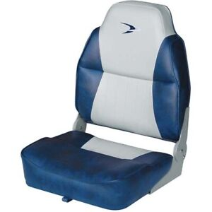 Wise 8WD640PLS 660 Lund Style High Back Fishing Seat Fold Down Grey Navy Blue