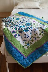 76x96 Kaleidoscope Long-Arm Patchwork Quilt Full Queen King Size Aqua Green New