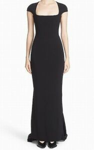 Stella McCartney NEW Black Cap-Sleeve Square-Neck 42 Train Gown Dress $3720 #336