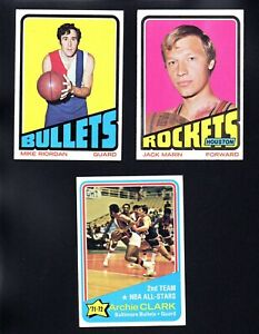 3 BULLETS LOT 1972-73 TOPPS #170 70 37 ARCHIE CLARK JACK MARIN MIKE RIORDAN  EX