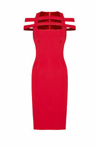 Cushnie Red Women's Size 2 Cutout Square Neck Crepe Sheath Dress $1695- #954