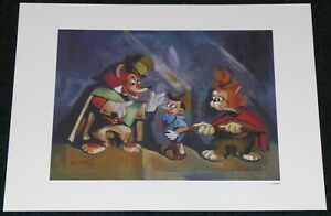 WALT DISNEY PINOCCHIO THE FOX THE CAT AND THE PUPPET 1993 LITHOGRAPH PRINT $14.95