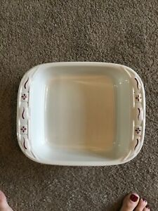 Longaberger Pottery Woven Traditions Red Casserole Baking Dish 8 x 8. Has Lid