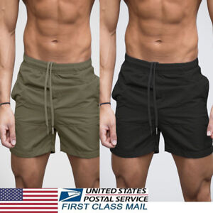 US Men's GYM Shorts Training Running Sport Workout Casual Jogging Pants Trousers
