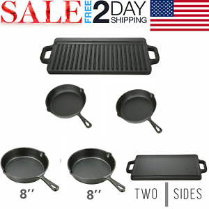 3 CAST IRON SKILLET Pre Seasoned 8 10.5 Inch Griddle Stove Oven Fry Pans Set New