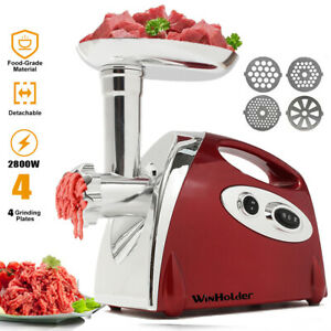 Heavy Duty 2800W Electric Meat Grinder Sausage Stuffer Tool Stainless Cutter Red