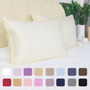 2PCS Soft Silky Satin Pillowcases 17Colors TD/STD/QUEEN/KING Pillow Cases Covers