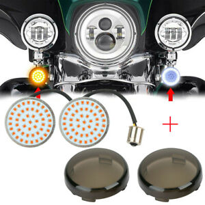 2x LED Bullet Style Turn Signals Light Inserts W/ Smoke Lens Fit For Harley USA