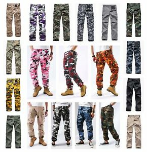 Mens Casual Camouflage Pants Military Army Trousers Multi pocket Cargo Pants