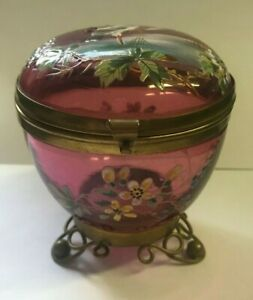 Antique Cranberry Glass Trinket Box on Brass Legs with Enameling