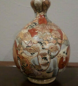 ANTIQUE SATSUMA Japanese POTTERY VASE