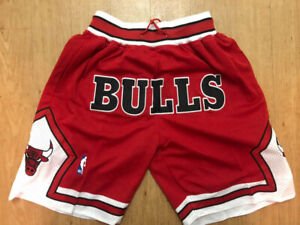 Chicago Bulls MEN'S Vintage Throwback Basketball Shorts Red