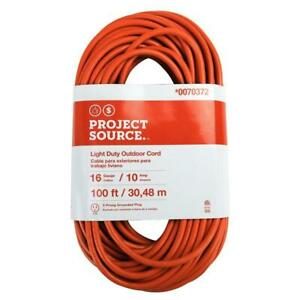 100 Ft Extension Cord 16 Gauge 10 Amp 125V Outdoor Durable Electrical 3 Prong Gr