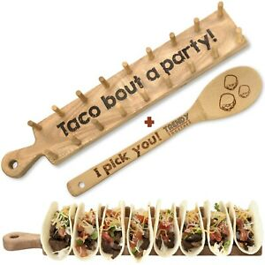 Wooden Taco Holder Tray Stand Taco Rack Set Holds 8 Soft Or Hard Shell Tacos