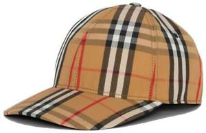 NEW BURBERRY VINTAGE CHECK COTTON LEATHER BASEBALL CAP HAT UNISEX SMALL