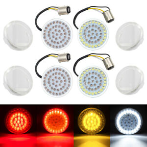 4pcs LED Bullet Style Turn Signals Light Inserts + Clear Lens for Harley Touring