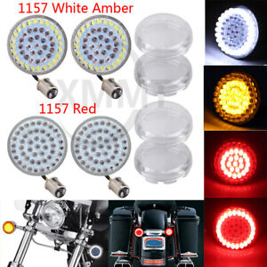 LED Bullet Style Turn Signals Light Inserts+Clear Lens For Harley Touring Fatboy