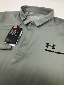 Under Armour Heat Gear Fitted Men's Long Sleeve Gray Polo Golf Shirt New $110