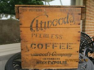 PRIMITIVE WOODEN ATWOOD COFFEE BOX WOOD SHIPPING CRATE CARRIER ANTIQUE