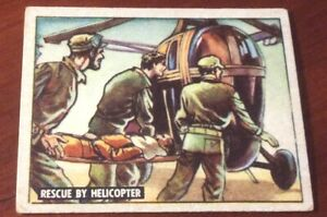 1950 Topps Freedoms War Trading Card #142 Rescue By Helicopter