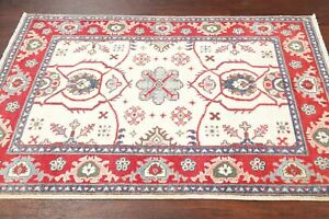 Geometric IVORY Super Kazak Oriental Area Rug Hand-Knotted Foyer Carpet Wool 3x5