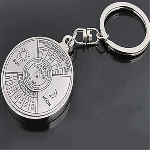 Creative Metal Key Chain Ring 50 Years Perpetual Calendar Keyring  Gift SG