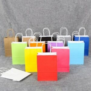 12Colors Kraft Paper Recyclable Gift Bag Party Bags Shop Bag With Handle Loot