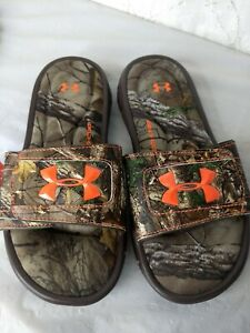 NEW Under Armour UA Ignite Camo Slide Sandals Kids Youth Size 3