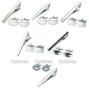 Stainless Steel Business Wave-Shape Tie Clip Rectangle Round Cufflink Gift Set