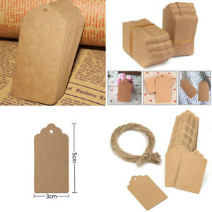 100pcs Gift Strings Brown Blank Wedding Kraft Paper Scallop Tags Luggage Label