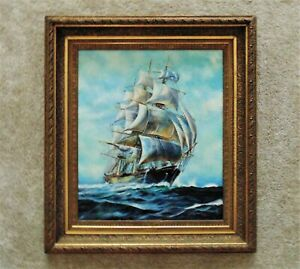 LARGE Antique Clipper Ship Painting Sailing Seascape Oil on Canvas $1,699.00
