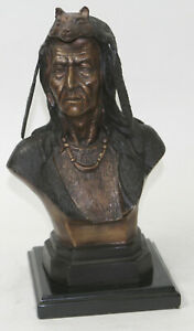 Indian Native American Art Chief Eagle Bust Bronze Marble Statue Sculpture Sale