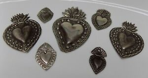 ANTIQUE LOT OLD 7 Sacred Heart Jesus Ex Voto MIRACLE MILAGRO SILVERED B-2