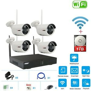 4CH WiFi Wireless CCTV Security Camera System NVR Home IPCam+1TB Hard Drive