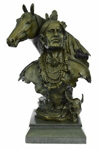 Rare Indian Native American Art Chief Horse Bust Bronze Marble Statue Decor SALE