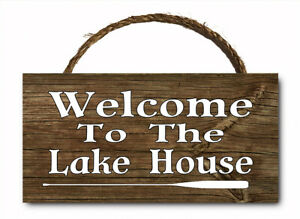 Welcome To The Lake House Hanging Wood Plaque Wall Sign 12x6