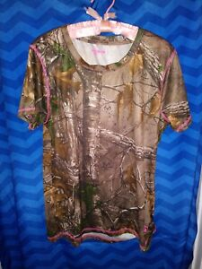Camouflage Women#x27;s T shirt Short Sleeve 2 XL by Game Winner bold pink stitching