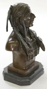 Native American Art Indian Chief Headdress Bronze Bust Sculpture Statue 20 LBS